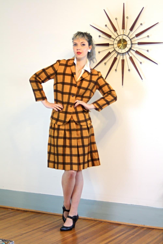 d9d3eeed16 Plaid two piece suit, Vintage 60s Jacket & Skirt Set, Orange Brown ...