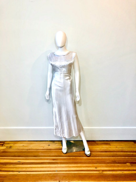 30s ice blue rayon negligee, vintage 1930s lingerie, 40s cap sleeve nightgown, 1940s pale blue dressing gown, light steel blue slip dress, S