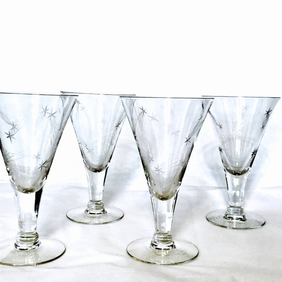 50s Etched Glass Set, Set of 4 Cocktail glasses,Atomic Starburst,Mid-Century Modern,Tall champagne flute,1950s star barware,Vintage stemware