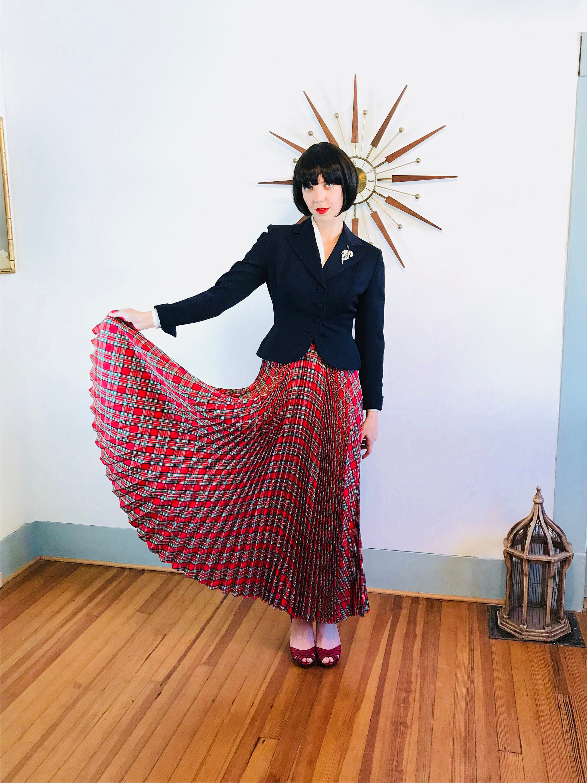 de7d6ae01 Pleated Maxi Skirt, Plaid maxi skirt, Vintage 50s skirt, Long Taffeta skirt  ...