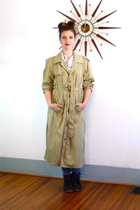 Nylon trench coat, BANANA REPUBLIC, Light Weight trench, Long Trench Coat, Vintage unisex trench, khaki trench coat, 80s trench coat,