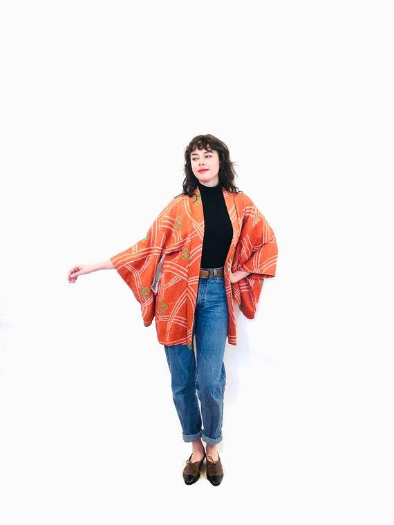 Vintage Haori Kimono, Shibori Dyed Silk Kimono, Vintage Short Kimono, Orange Kimono Robe, Japanese Kimono jacket, Tie dyed kimono