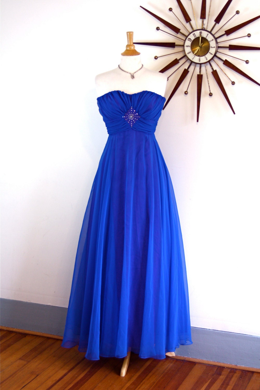 36396dbe8d1 Vintage 60s Royal Blue Chiffon Maxi Dress Cocktail Party Strapless ...