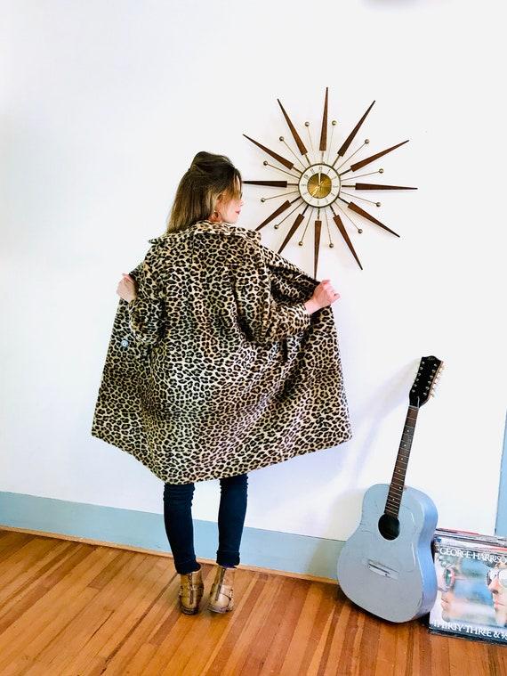 60s Leopard Coat, Rare KILIMANJARO Leopard print coat, Vintage 1960s swing coat, Faux fur coat, Long Leopard jacket, Leopard trench