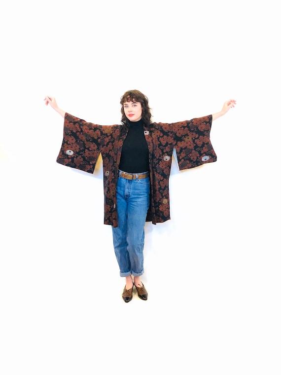 Vintage 1970s Brocade Silk Haori Kimono, Short Vintage Kimono Jacket, Japanese Floral Kimono Jacket, Vintage 70s Black Orange Kimono Robe