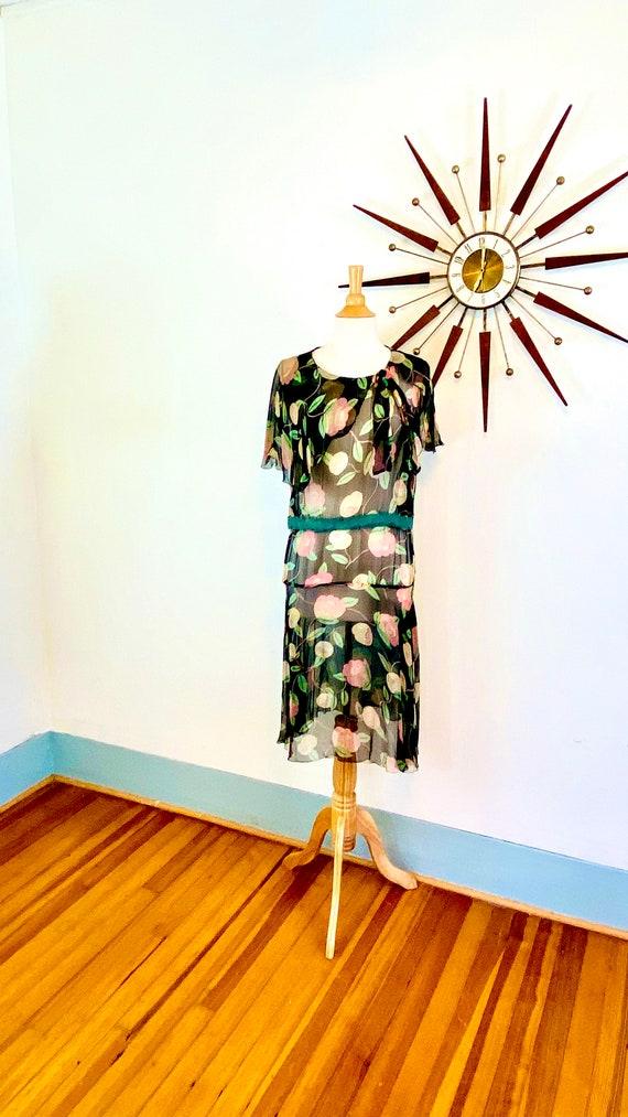 1930s floral silk chiffon dress, Vintage sheer 30s flower print dress, 30s flutter sleeve capelet dress, 1920s drop waist sheath, AS IS.