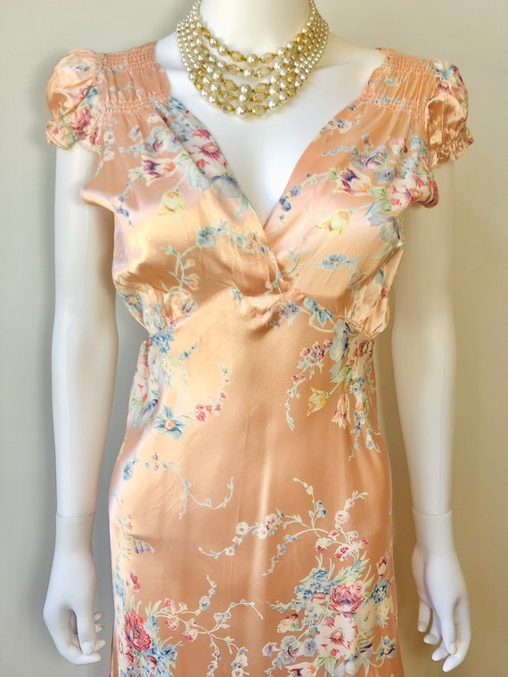 1930s peach floral nightgown, vintage 1940s pink f