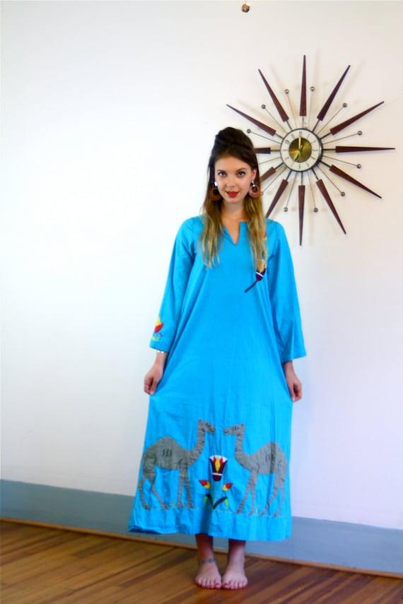 Ethnic Hippie Caftan, Egyptian Folk Art, Camels Egypt, Applique Stitched,Long Festival Dress, 70s blue maxi dress, Embroidered cotton caftan