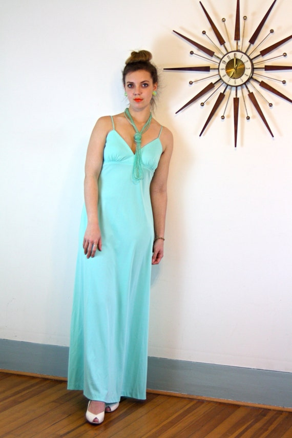 1970s Disco Dress, 70s Maxi Dress, Aqua blue Gown, Light Blue dress, Long Slinky dress, Spaghetti Strap maxi, 70s disco dress,70s boho dress
