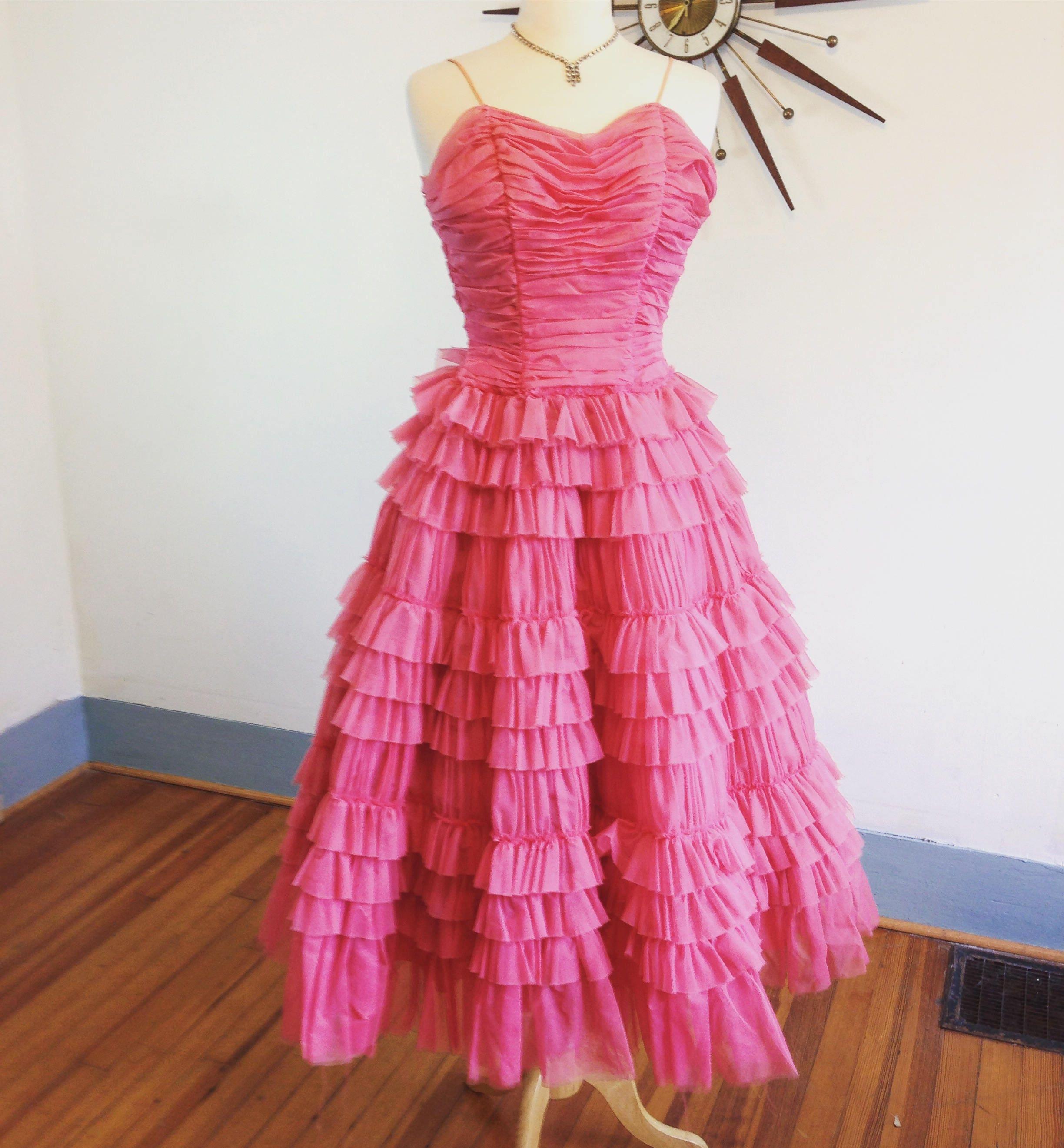 14e749a8d1916 Vintage 50s dress, Pink Chiffon Dress, Cupcake dress, layered dress ...