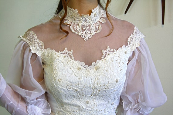 70s Wedding Dress, BOHO wedding dress, Vintage wedding gown, 1970s wedding dress, Hippie wedding, High lace Collar,Sheer long sleeve,Ruffles