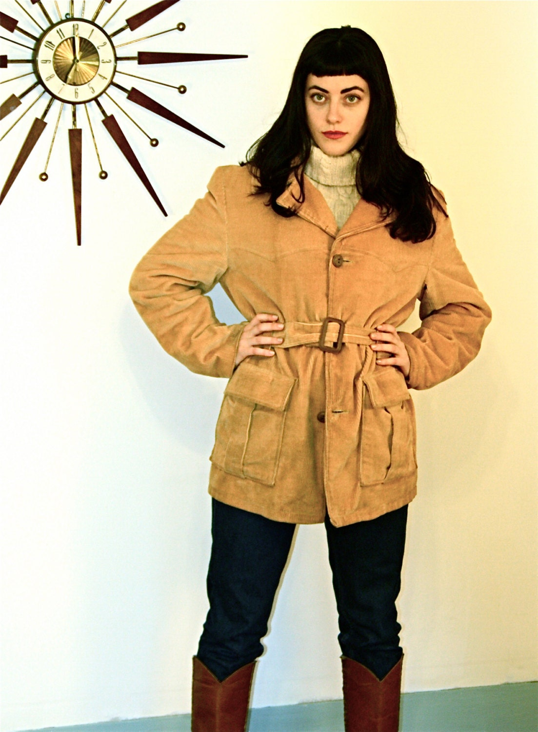 Vintage 70s Coat Tan Corduroy Coat 70s Woodmans Jacket Cowboy