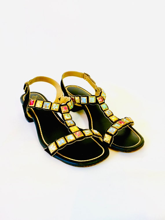 60s colorful Jeweled Sandals, 1960s SIGNALS by Beacon, Black t-strap sandals, MOD 1960s, womens strappy sandals, jewels bejeweled, Size 7 M
