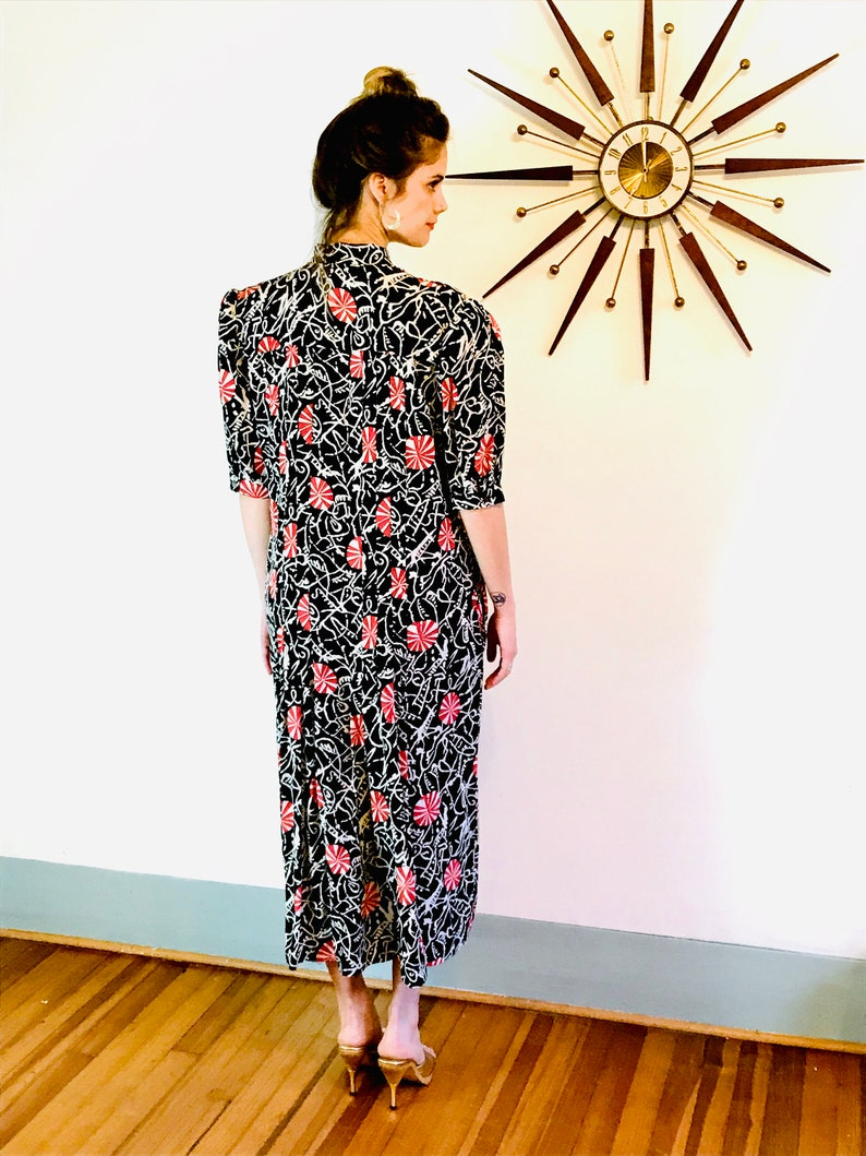 80s black silk Paul Costelloe dress XL geometric pattern long sleeve dress 1980s does 40s red white peppermint candy print pussy bow tie