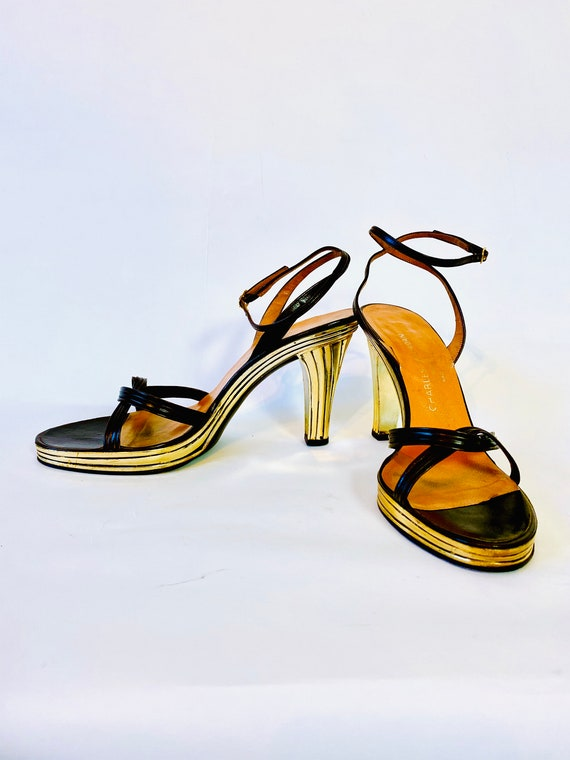 70s Charles Jourdan PARIS platform heels, Rare metallic gold high heel, Strappy ankle strap leather Vintage 1970s disco pumps, Size 9 M