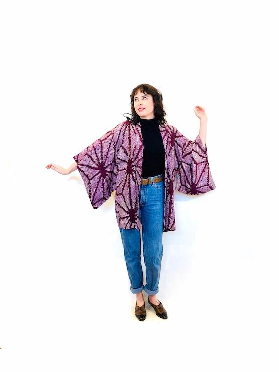 Antique Haori Kimono, Shibori Dyed Silk Kimono, Vintage Short Kimono, Purple Kimono Robe, Japanese Antique Kimono, 1920s Kimono Jacket