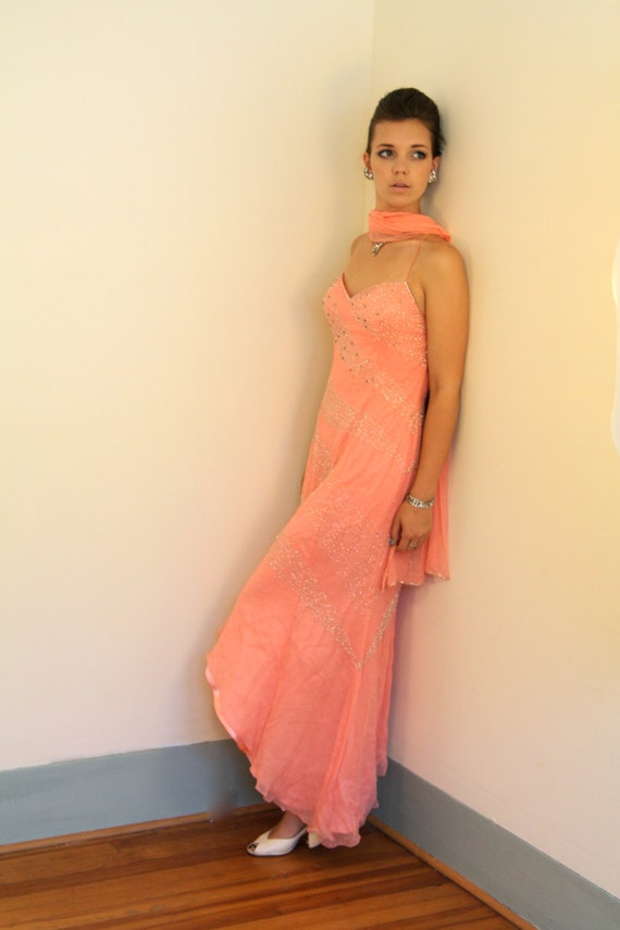 SILK Beaded Dress, Chiffon party dress, Asymmetrical scarf dress, Spaghetti Strap Tie Back dress, Coral pink peach prom dress