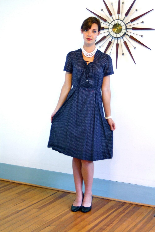 1940s Day Wear: 40s Day Dress, Vintage 1940s Dress, Sheer Cotton Dress