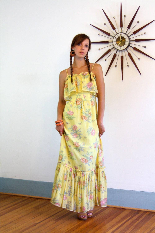 8ec5c9d20ebaa8 Boho Maxi dress, Vintage 70s Dress, Hippie maxi dress, Tiered ...