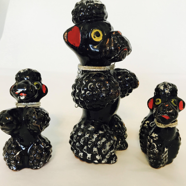 Vintage 50s Poodle Set Redware Japan 50s Poodle Figurines