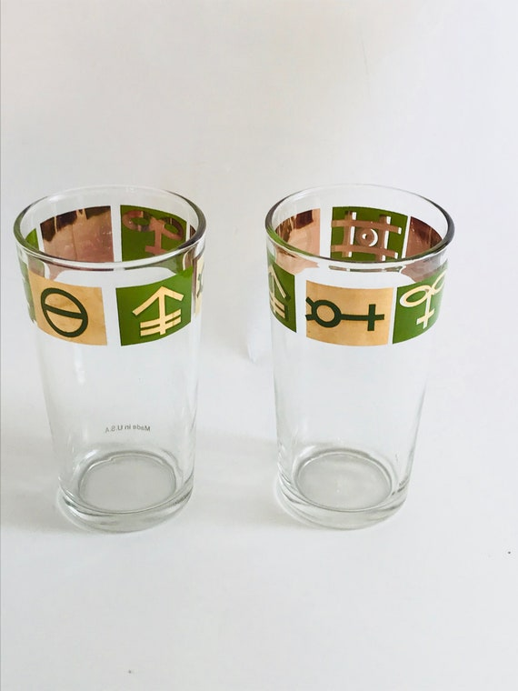 1960s collins glasses, Culver glass, Retro Barware, Set of two 2, Highball glasses,Metallic gold green, Tall 10 oz, Mid Century, Don Draper