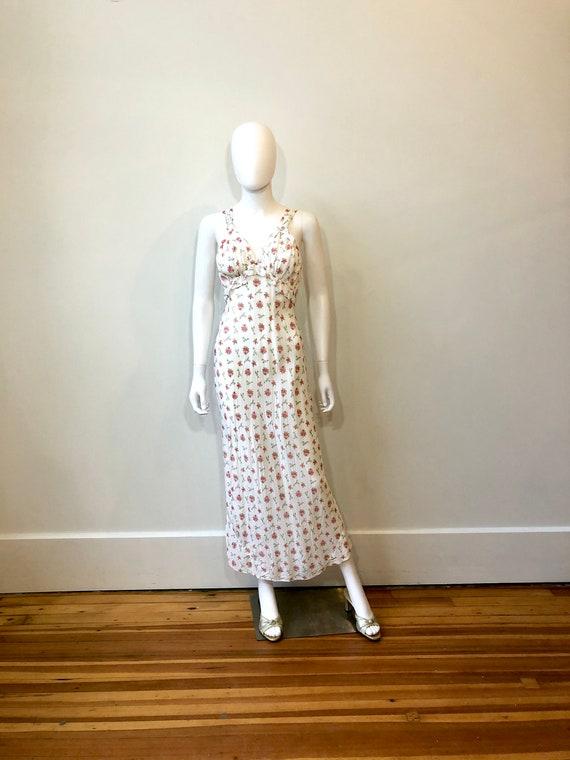 40s floral slip dress, Vintage 1940s white Rayon M
