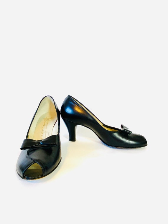 40s Black Leather Pumps, 1940s Vitality Shoes Low