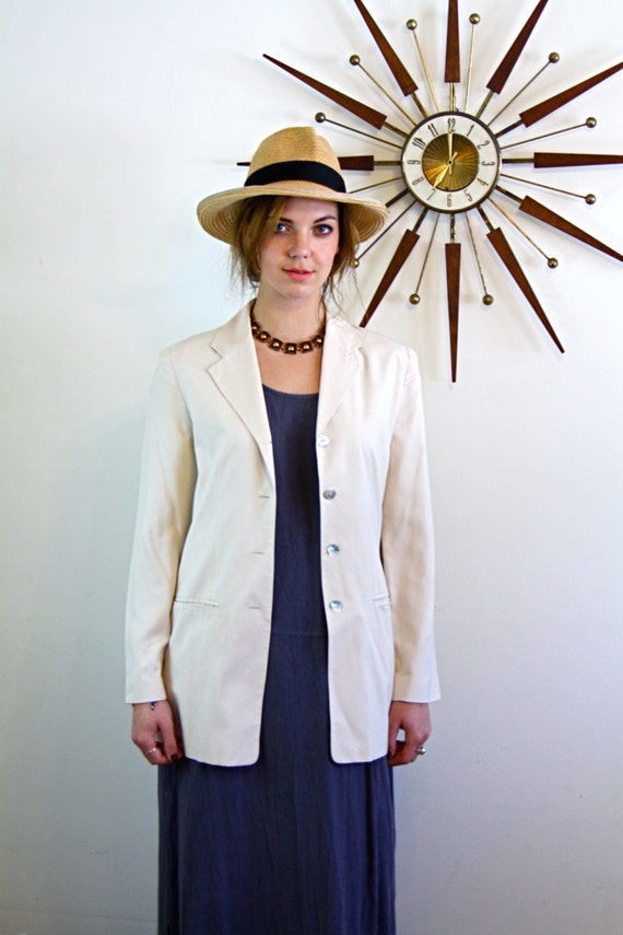 b02d83ffa5e Cream Silk Blazer Minimalist blazer Long 90s Jacket Womens | Etsy