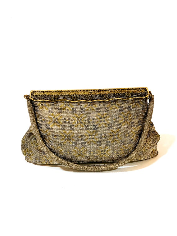 40s gold micro beaded handbag, 1940s Catherine 6 Rue de Castiglione Paris Evening Bag, 30s art deco purse, French Parsian pocketbook
