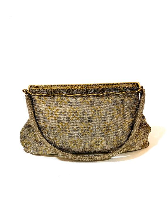 Vintage 1940s gold micro beaded handbag, 40s Catherine 6 Rue de Castiglione Paris Evening Bag, 30s art deco purse, French Parsian pocketbook