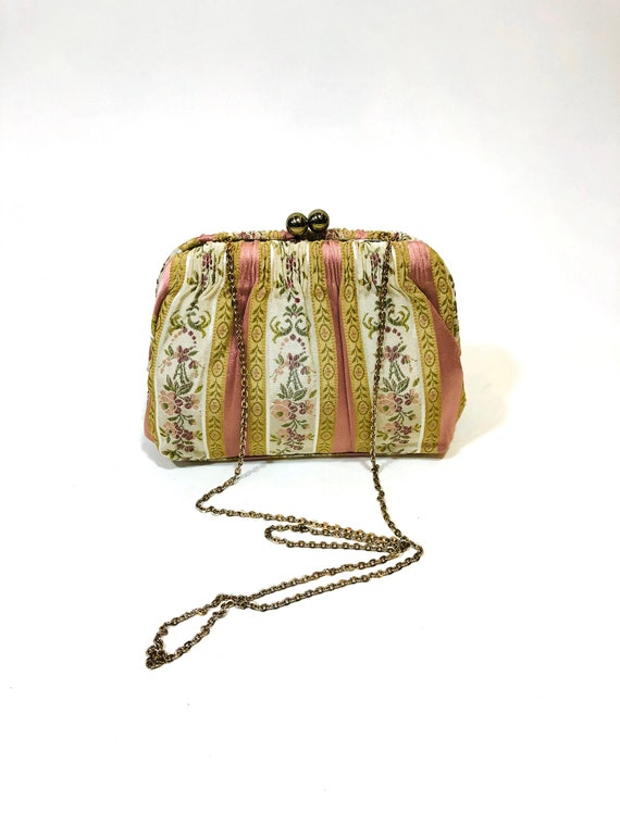 60s tapestry handbag, 1960s Etra purse, Long chain crossbody, pink gold floral damask brocade evening bag, 50s embroidered fabric pocketbook