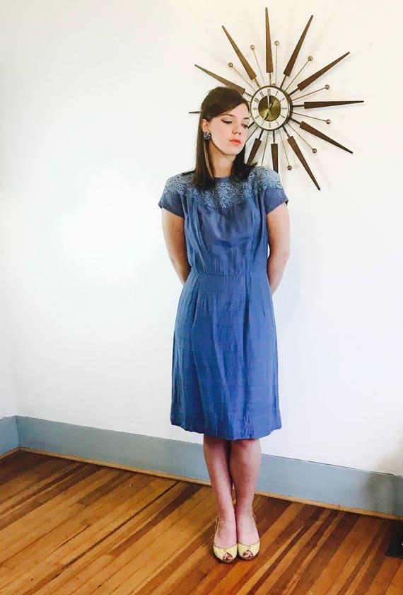 Vintage 50s dress, 50s Volup Wiggle Dress, Cornflo