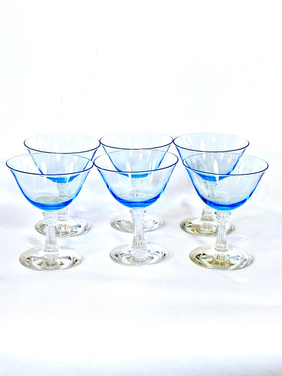 1950s Blue cocktail glasses, Set of 6 six 50s coupe glasses, Cut glass cordials, 40s Champagne glasses,30 Aperitif glasses, Vintage stemware