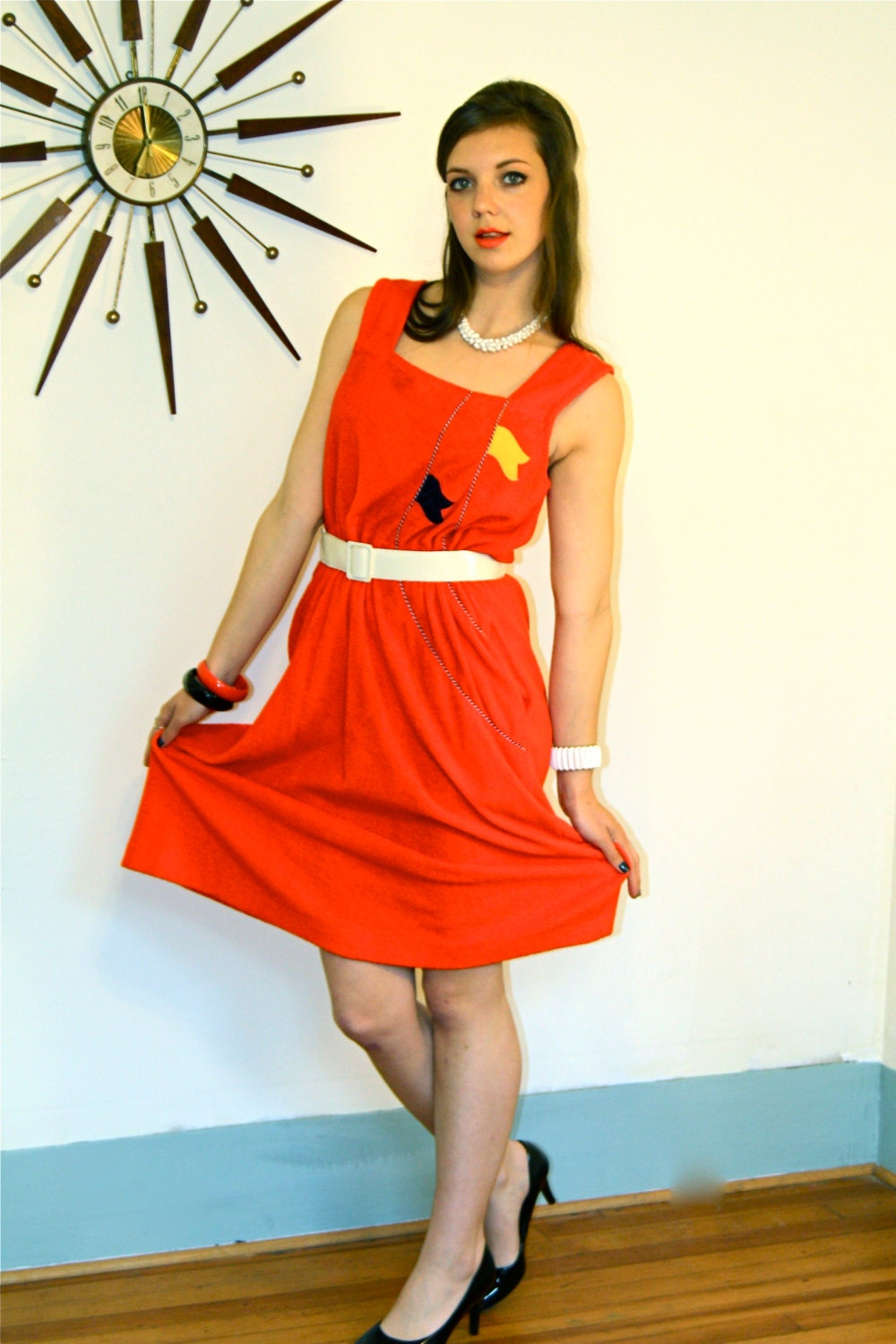 dbf7f6438b Vintage volup dress, Red nautical theme sailor dress, 1970s beach ...