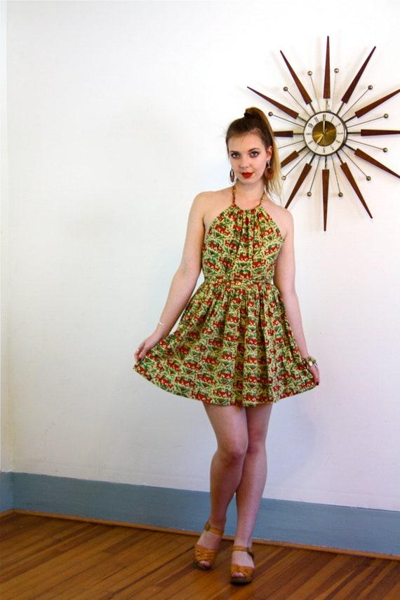 70s Tapestry Dress, Indian wrap dress, India Block Print, Cotton Boho dress, Summer Halter dress, 1970s sundress, hippie Mini Dress,Elephant