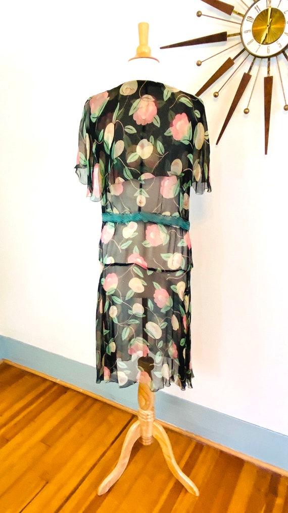 1930s floral silk chiffon dress, Vintage sheer 30… - image 4