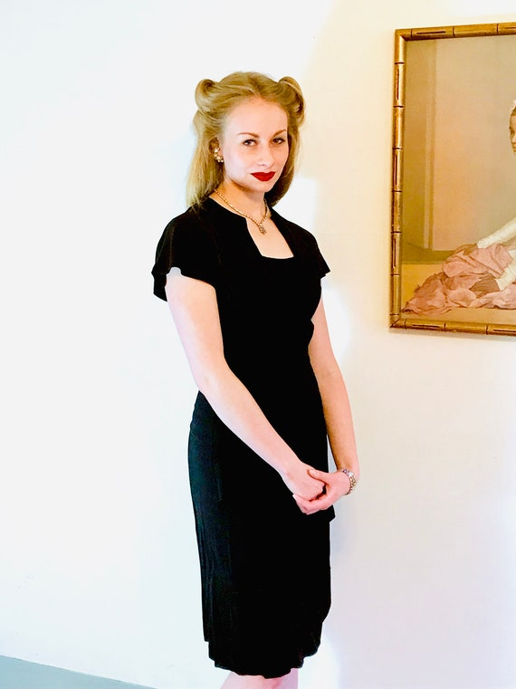 1940s Art Deco dress, Vintage 40s dress, 40s swin… - image 8