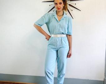 Vintage 80s romper, Aqua Blue romper, 80s cotton jumpsuit, 1980s onepiece, 70s SEARS romper, Womens Jumpsuit, 80s boxy romper, 80s Ladies, M