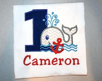 1st Birthday shirt First Birthday Onesie\u00ae Sailor Party Nautical Birthday Ocean Party Sailboat Birthday Sea Party Set Whale Theme Sea