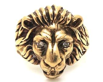 e2324194dd90c3 V I N T A G E // dramatic lion / 10k yellow gold with diamonds / size 8.25