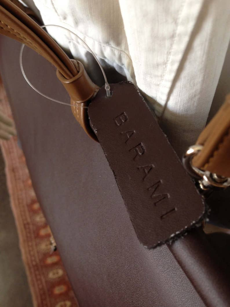 NOS BARAMI brown leather attache satchel carry on computer bag
