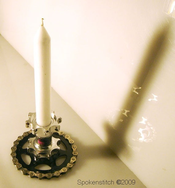 Recycled bicycle candle holder hub mounted to gear