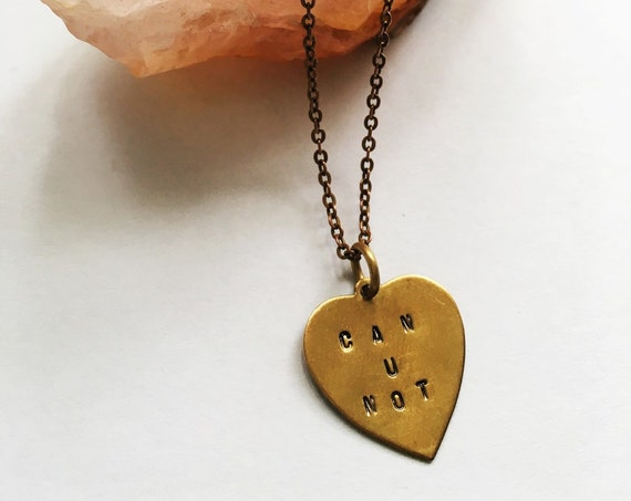 Can u not engraved brass charm necklace