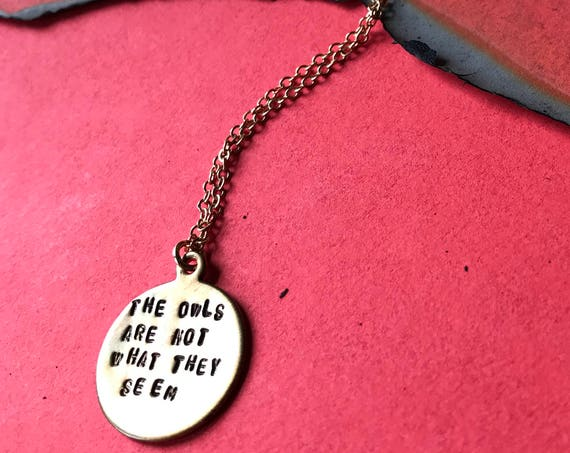 Twin Peaks The Owls Are Not What They Seem circle charm necklace