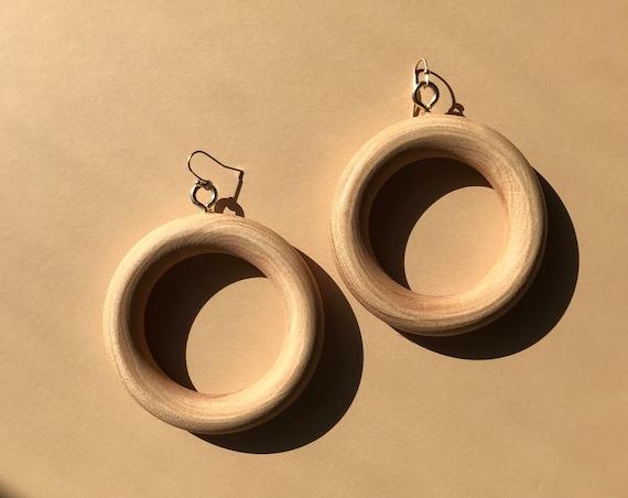 Wood circle hoop drop earrings
