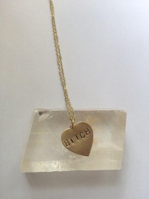 BITCH Heart Necklace