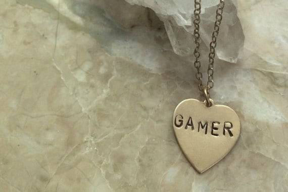 GAMER Engraved Heart Charm Necklace ~Nerd Necklace~