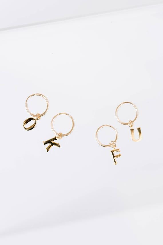 Custom Gold Fill Letter Monogram Hoops - Sold Individually