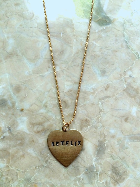 NETFLIX Engraved Heart Necklace on Solid Brass Chain