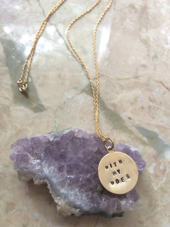 """Song Lyrics Engraved Necklace Drake """"With My Woes"""" Hand Stamped"""
